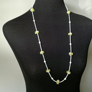Green and white glass bead long necklace