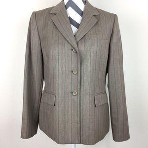 Pendleton Grey Pink Pinstripe Wool Blazer Size 8