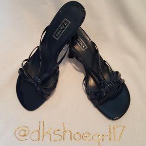 M. Patrick Patent Navy Heeled Sandals
