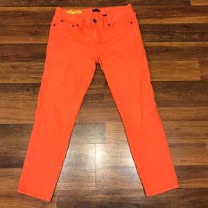 J. Crew toothpick orange/ coral skinny jeans