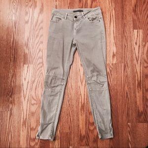 ZARA Light-Grey Skinny Jeans with Ankle Zip