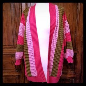 sz L Vintage Oversized Cardigan Sweater Pink Olive