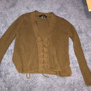 Brown lace up sweater size S