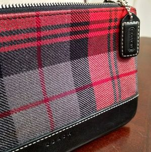 Coach oversized plaid change purse or clutch