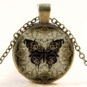 Jewelry - Butterfly glass/bronze necklace