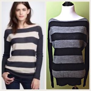 J Crew Alpaca Boat Neck Gray Black Stripe Sweater