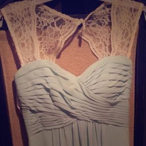 Bill Levkoff mint bridesmaid dress