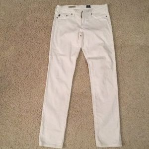 AG 27R The Stilt Cigarette White Jeans