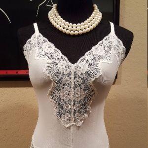 cfb6dd59e Guy Laroche Intimates   Sleepwear - Vintage 60s Guy Laroche White Lace  Teddy Lingerie