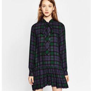 Zara Plaid Check Pleated Mini Dress With Bow Sz XS