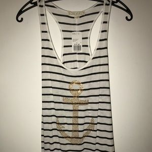 Forever 21 Black and White Stripe Tank Top