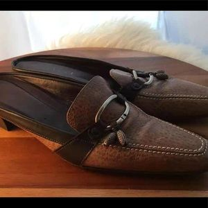 Italian Leather mules slip on shoes, Womens 7.5