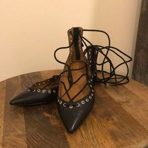 Zara Leather Lace Up Flats