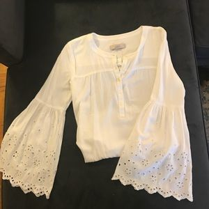 White bell sleeved blouse with Lace detail
