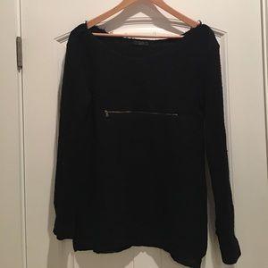 Knit and silk black Zara blouse.