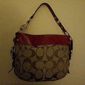 Coach Monogram bag w/red trim