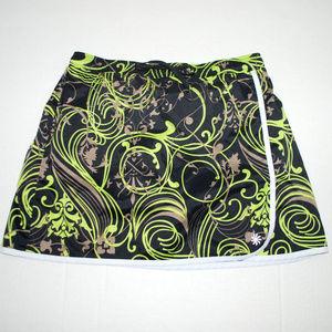 Athleta Skort Black Gray neon green size small