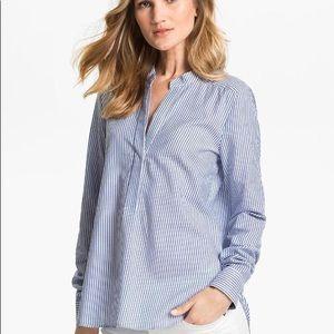 VINCE Blue White Striped Cotton Blend Shirt Sz 4