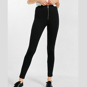 High Waisted Ponte Knit Zip Legging