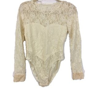 80s Vintage Lace Body Suit Onesie Lingerie Teddy