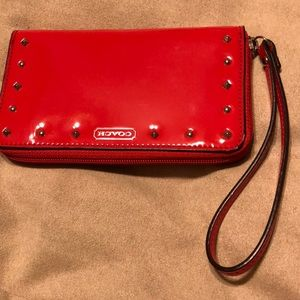 Coach wristlet - red - glossy