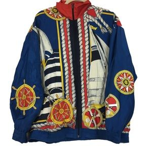 Vintage Amazing Nautical Silk Bomber Embroidered