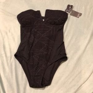 Mossimo black lace detail bathing suit, one piece