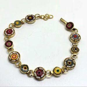 🆕Vintage Gold Micro-Mosaic Bracelet