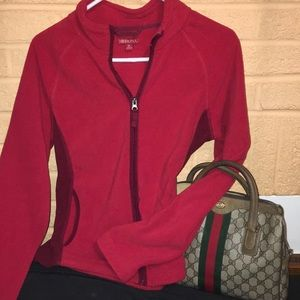 Red and maroon polyester furry fleece jacket