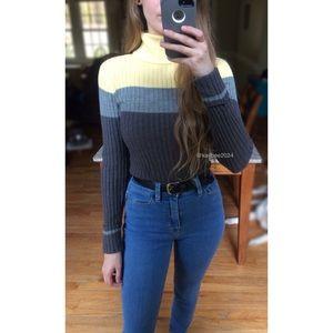 🍂 90's Vtg Ribbed Color Block Turtleneck Sweater
