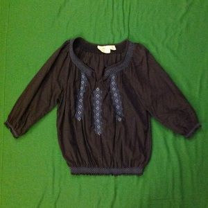 H&M L.O.G.G.  Dark blue boho cotton blouse