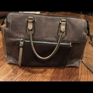 Moda Luxe brown leather and suede satchel