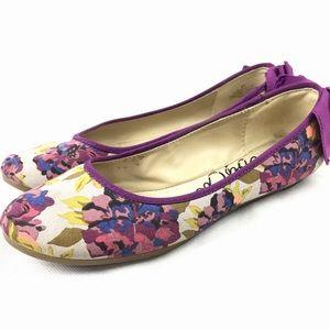 Libby Edelman Floral Print Bow Ballet Flats Sz 8