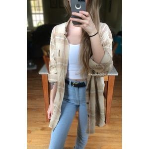 🍂 Vintage 90's Beige Toned Boyfriend Flannel 🍂