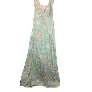70s Pastel Floral Flower Chains Maxi Nightgown