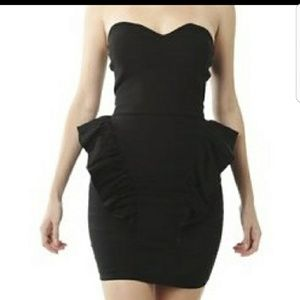 Black Hip-Ruffled Cocktail Dress
