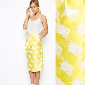 ASOS Yellow White Rose Jacq Midi Pencil Skirt Sz 4