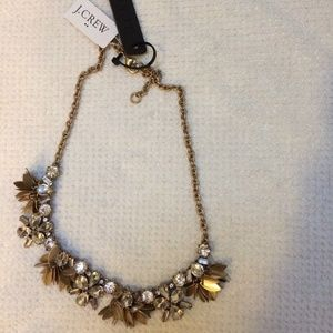 NWT J crew necklace gold tone with crystals