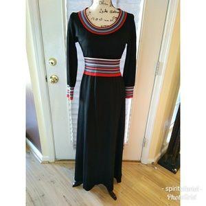 70s retro knit maxi dress