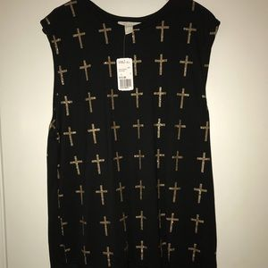 Forever 21 Black Tank with Gold crosses