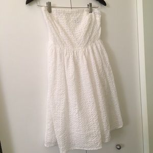 White Eyelet Strapless Dress