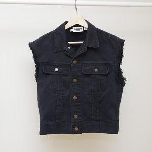 Vintage DKNY Denim Jacket Vest Destroyed Grunge