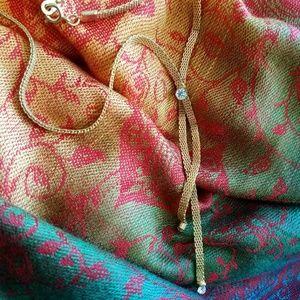 Vintage diamante mesh necklace gold tone