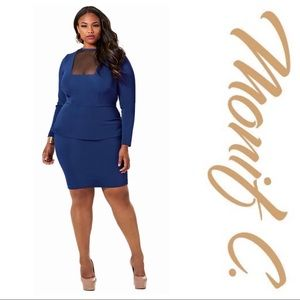 "Monif C. Blue ""Faith"" Mesh Peplum Dress Size 3X"