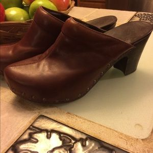 Brown leather dansko mules