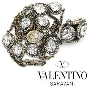 Valentino Brass Metal Belt with Swarovski Crystals