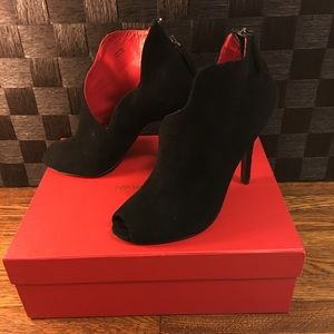 Peep toe suede boots