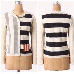 Anthropologie Stripe Wool Cardigan Charlie Robin