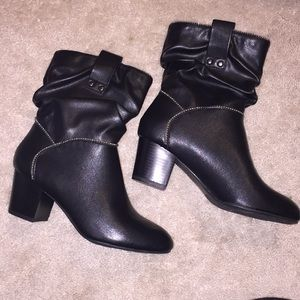 Black ankle booties with silver bead trim, size 6