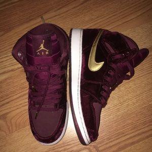 Burgundy Nike Air Jordans 1
